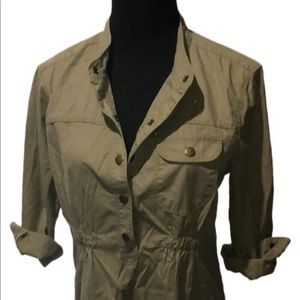 Military style Olive green shirt dress
